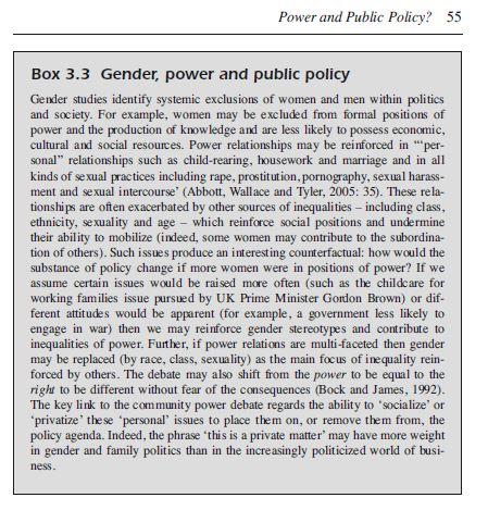 box 3.3 gender policy