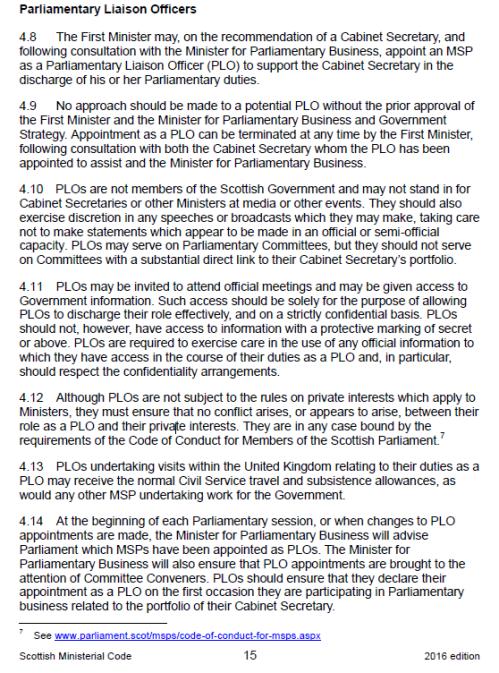 PLOs in 2016 ministerial code