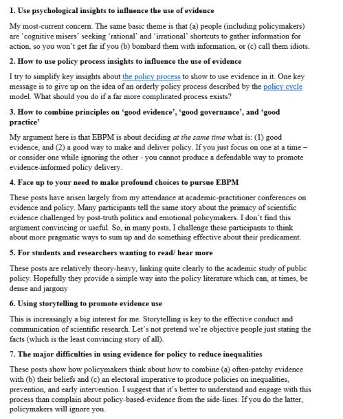 7 themes of EBPM