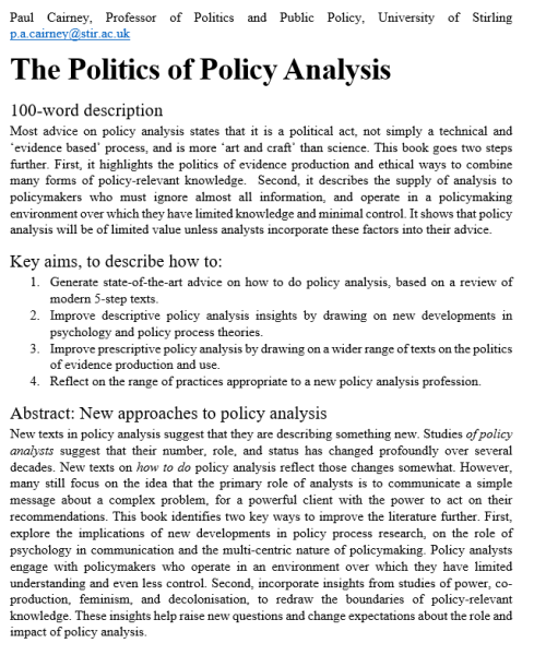 abstract politics policy analysis